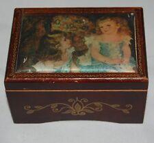 Vintage Linden Wooden Music Box Japan Renoir Silk Art Only Just Begun Japan
