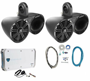 """Pair Of Kicker 6.5"""" Wakeboard Component Speakers+4 Channel Amplifier+Amp Kit"""