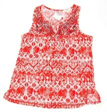 Retrology women's knit top red print sleeveless size M tie-front new