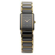 Rado DiaStar 153.0383.3 Gold Plated Black Ceramic Rectangle Quartz Womens Watch