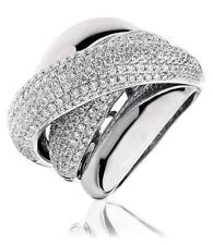Diamond Chunky Wedding Ring 18mm Wide 2.35ct F VS Pave Band in 18ct White Gold