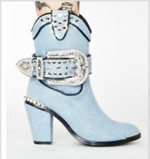 Womens Chic Denim Studs Buckle Strap Block Heel Cowboy Western Boots Shoes 5420