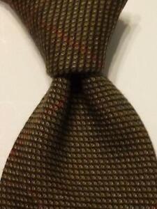 LUCIANO BARBERA Men's 100% Wool Necktie ITALY Designer PLAID Brown/Red EUC