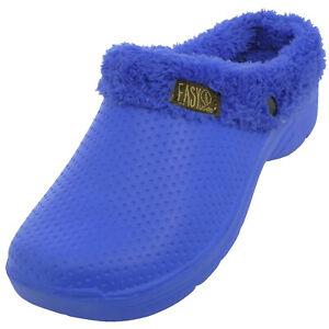 New Women's Faux Fur Lined Clog House Slipper Garden Indoor Outdoor Winter Shoe