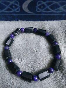 Raw black tourmaline and charoite bracelet crystal healing bead bracelet