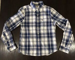 abercrombie and fitch shirt Mens S Muscle Small Blue White Check Collared