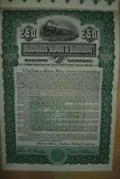 Aberdeen Huron & Southern Railway Company  1908   250$ Gold Bond uncancelled