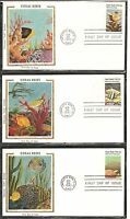 US SC # 1827-1830-1830a Coral Reefs FDC. 5 Covers Set .Colorano Silk Cachet