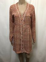 Tigerlily Dress Women ~ Size 10 ~ Great Cond Colorful Pattern Print Front Button