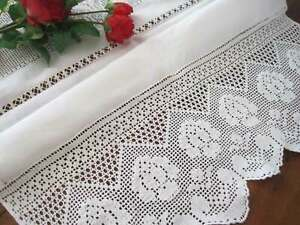 Vintage Style Pretty Rose Wide Hand Crochet Embroidery Hemstitch Linen Curtain
