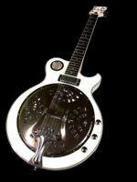 NEW WHITE RESONATOR CONE JAZZ, ROCK, BLUEGRASS ELECTRIC GUITAR BISCUIT PICKUP