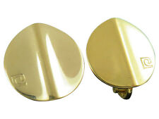 Pierre Cardin Vintage Clip Earrings Abstract Modernist Gold Designer 887g