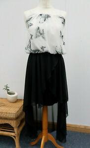 Kiah Pretty Summer Strappy Waterfall Tiered Dress Butterfly Pattern Size 10 BNWT