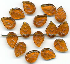 Vintage Leaf Beads 14mm Autumn Tone Amber Color Glass Top Hole Made W. Germany