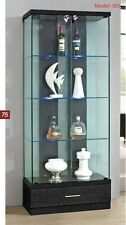 lockable with lights black Glass & wood Display Show Case Storage wall Cabinet
