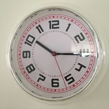 Retro Kitchen/Office Wall Clock In White And Chrome