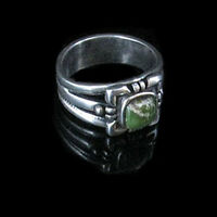 .925 Sterling Silver Natural Green Turquoise Ring size 7.5