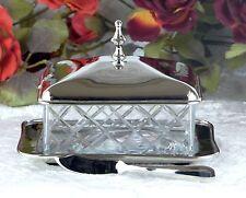 Butterdose Silber Butterschale Antik Jugendstil Kaviardose Butter Dose Glas Neu