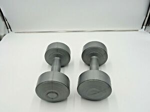 Set Of Two 5 lbs. Grey Plastic Coated Dumbbells Hand Weights - 10 pounds Total