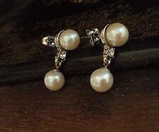 Vintage Butler & Wilson Pearl Drop Pierced Earrings