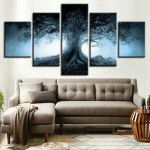 Dark Forest Fantasy Tree Shadow Poster 5 Panel Canvas Print Wall Art Home Decor