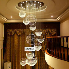 "D40"" Modern Crystal Chandelier Light Staircase Luxury Lamp Home Lighting Fixture"