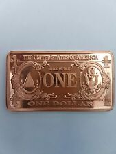 1 onza 999 Cobre Copper LINGOTE COMO 1 $Dólar Billete Bill feinkupfer