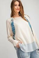 Easel Colorblock Floral Bohemian Print Long Sleeve Knit Tunic Top