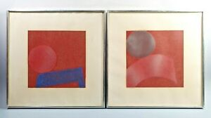 Natvar Bhavsar Pair of Abstract Color Field Silkscreen Prints Signed 1960s
