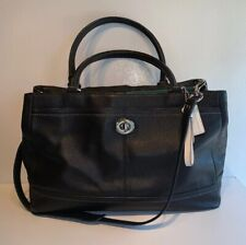 COACH Black Pebbled Leather Satchel Tote Messanger Ipad Handbag