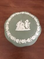 Vintage Wedgwood Jasperware Green Trinket Box