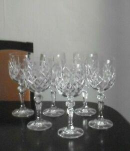 6 cut glass crystal, wine glasses, Bohemia. 225ml