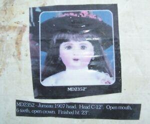 "Doll Head Mold - Bells 1907 Jumeau Mold #2352 for 23-24"" doll"