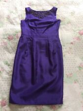 Beautiful MONSOON Beaded/embelished Dress With Pockets-size 10. Purple VGC