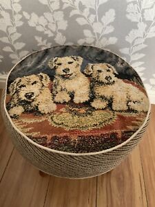 vintage Stool With Picture Of Dogs by Hanley