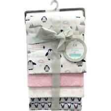 Petit L'Amour PInk Penguin Flannel Receiving Blankets 4pk Baby Girl Shower Gift