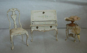 Vintage Artist Made Bespaq 3 Pieces White Dollhouse