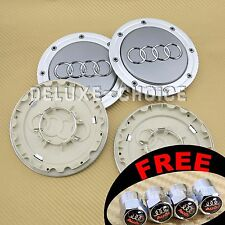 4 Silver Car Alloy Wheel  Center Hub Cap Emblem Badge Logo 148mm AUDI 4B0601165A