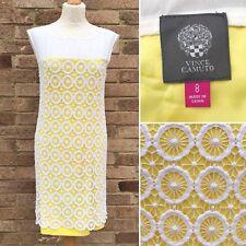 Vestido Recto Vince Camuto US 8 Blanco Amarillo Crochet superposición de algodón UK 12 Smart