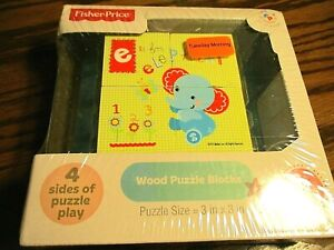 NIB Four-Side Fisher Price Wood Puzzle Blocks 18 months Learning Game Toy    129