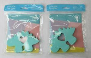 2x Manhattan Toy Little Jurassics Chomp Dinosaur Stegosaurus Silicone Teether