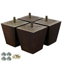 3 inch Pyramid Wood Furniture Legs Replacement Sofa Loveseat Cabinet Pack of 4
