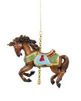 KURT ADLER RESIN TRADITIONAL BROWN CAROUSEL/DOBBY HORSE CHRISTMAS ORNAMENT C8830