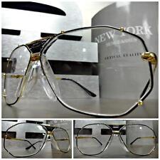 Men or Women VINTAGE RETRO Style Clear Lens EYE GLASSES Large Gold Fashion Frame