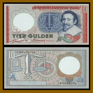 Netherlands 10 Gulden, 1953 P-85 Banknote About Uncirculated Plus (Au+)