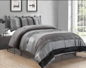 Grand Linen 4 Piece Grey/Black/Silver Stripe Oversize Chenille Comforter Set 106