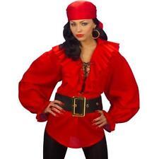 Piratenhemd Damen Rüschenhemd rot M 38/40 Piratin Hemd Kostüm Karneval