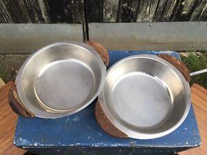 Retro Vintage 70's Danish Teak Handled Stainless Steel Bowls x 2 Denmark Nibbles