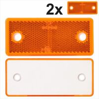 2x AMBER ORANGE Oblong Rectangular Screw on Trailer Caravan Reflectors 96x42 mm