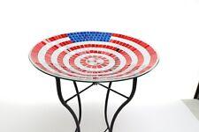 Glass Birdbath with Metal Stand - 24 Inch Mosaic American Flag Pattern Yard Art